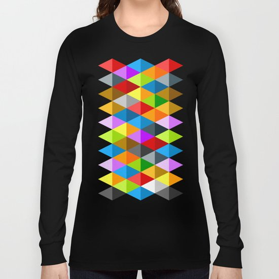 Modern bright funky colorful triangles pattern Long Sleeve T-shirt