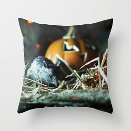 Evil Red Eyed Rat and Jack O' Lantern Throw Pillow
