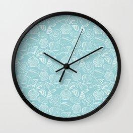 sea shells on blue Wall Clock