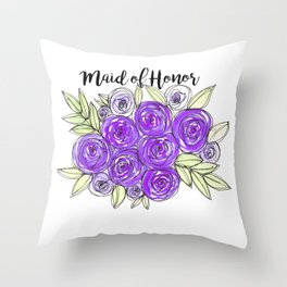Maid Of Honor Wedding Bridal Purple Violet Lavender Roses Watercolor Throw Pillow