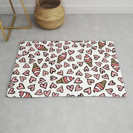 Cute Pink Hearts and Ice Cream Cones Illustrations Rug