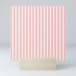 Trendy Large Coral Rose Pastel Coral French Mattress Ticking Double Stripes Mini Art Print