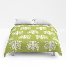 Human Rib Cage Pattern Chartreuse Green Comforters