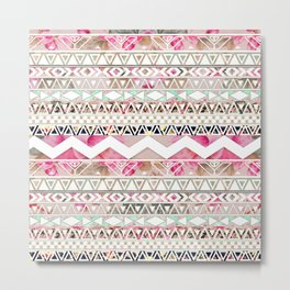 Aztec Spring Time! | Girly Pink White Floral Abstract Aztec Pattern Metal Print