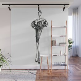 Charcoaled Fashion Illustration Wall Mural