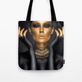 Black Gold Fashion Print, Gold Fashion Decor, Gold Fashion Art Tote Bag