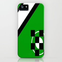Simplicity - Green, black and white, geometric, abstract iPhone Case