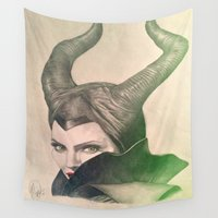 maleficent Wall Tapestries featuring Maleficent. by Monica Selva