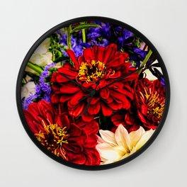 Red Flower Bouquet Wall Clock