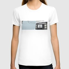 Japan traditional building Hot Spring Hotel in Snow T-shirt