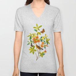 Vintage Floral Illustration Unisex V-Neck