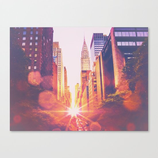 New York City Bokeh Sunset Canvas Print