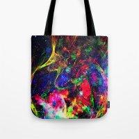 big bang Tote Bags featuring Big Bang by haroulita