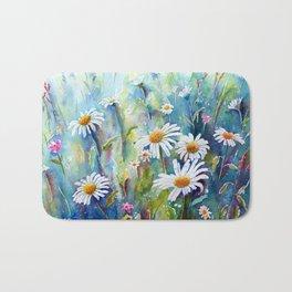 Watercolor Daisy Field Bath Mat