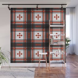 Preppy Plaid in Black and Red Wall Mural