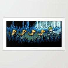 Pixel Jurassic World Art Print