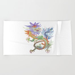 Bright and Vivid Chinese Fire Dragon Vector Beach Towel
