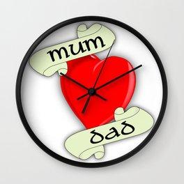 Mum and Dad Heart Wall Clock