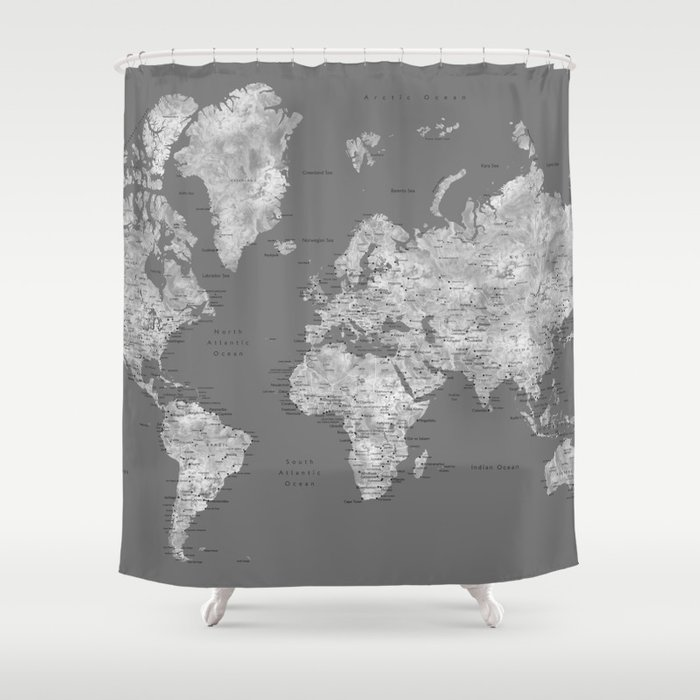 Dark Gray Watercolor World Map With Cities Shower Curtain By Blursbyaishop