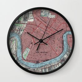 Vintage Map of New Orleans Louisiana (1954) Wall Clock