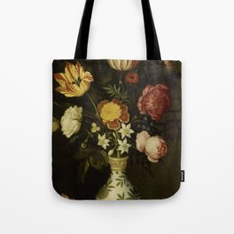 Ambrosius Bosschaert - Still life with flowers in a Wan-Li vase (1619) Tote Bag