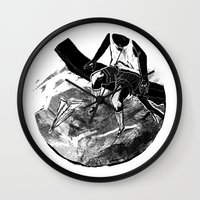 planes Wall Clocks featuring paper planes by Rzuud