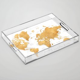 For God so loved the world, world map in gold Acrylic Tray