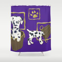Purple puppy antics | Puppies at play Shower Curtain