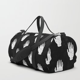 Palm Reading Chart - White on Black Duffle Bag