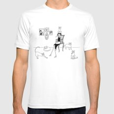 cat lady White MEDIUM Mens Fitted Tee