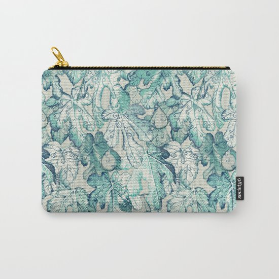 Fig Leaf Fancy - a pattern in teal and grey Carry-All Pouch