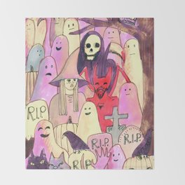 horror party funny pattern Throw Blanket