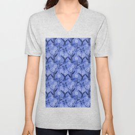 Blue Flowers and Butterflies Pattern Unisex V-Neck