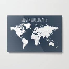 Adventure Awaits World Map in Navy Blue Metal Print