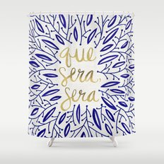 Whatever Will Be, Will Be – Navy & Gold Shower Curtain
