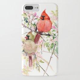 Cardinal Birds and Spring, cardinal bird design iPhone Case