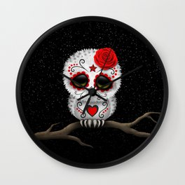Adorable Red Day of the Dead Sugar Skull Owl Wall Clock