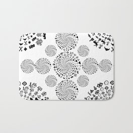 Love Symbol Mandala Black on White Bath Mat