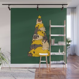 Christmas Tree Pugs Wall Mural