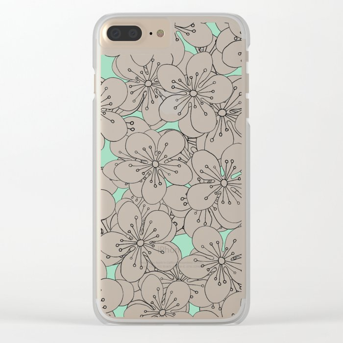 Cherry Blossom With Mint Blocks - In Memory of Mackenzie Clear iPhone Case