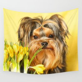 Spring Yellow Crocuses With Yorkie Puppy #decor #society6 Wall Tapestry