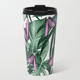 Tropical Butterfly Jungle Leaves Pattern #2 #tropical #decor #art #society6 Travel Mug