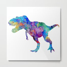 Dinosaur T-Rex Tyrannosaurus Rex Art Animals Nursery Decor Kids Room Watercolor Print Blue Purple Di Metal Print