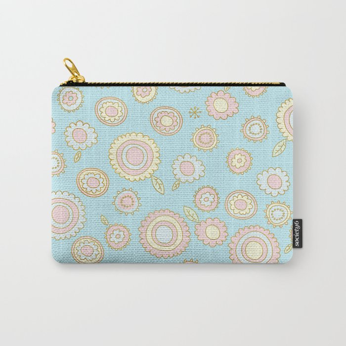 Cute Pastel Doodle Flower Pattern Carry-All Pouch