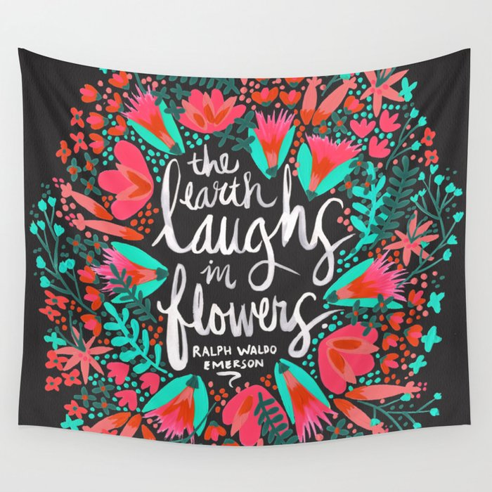 The Earth Laughs in Flowers – Pink & Charcoal Wall Tapestry
