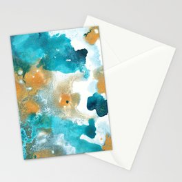 Aqua Teal Gold Abstract Painting #2 #ink #decor #art #society6 Stationery Cards
