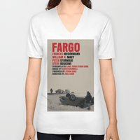 movie poster V-neck T-shirts featuring Fargo Movie Poster  by FunnyFaceArt