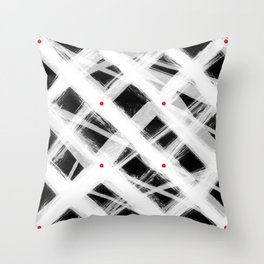 Dotted Grid with Brush Strokes Black Throw Pillow