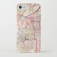 kansas city iPhone & iPod Cases featuring Kansas City by MapMapMaps.Watercolors
