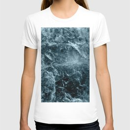 Enigmatic Deep Blue Ocean Marble #1 #decor #art #society6 T-shirt